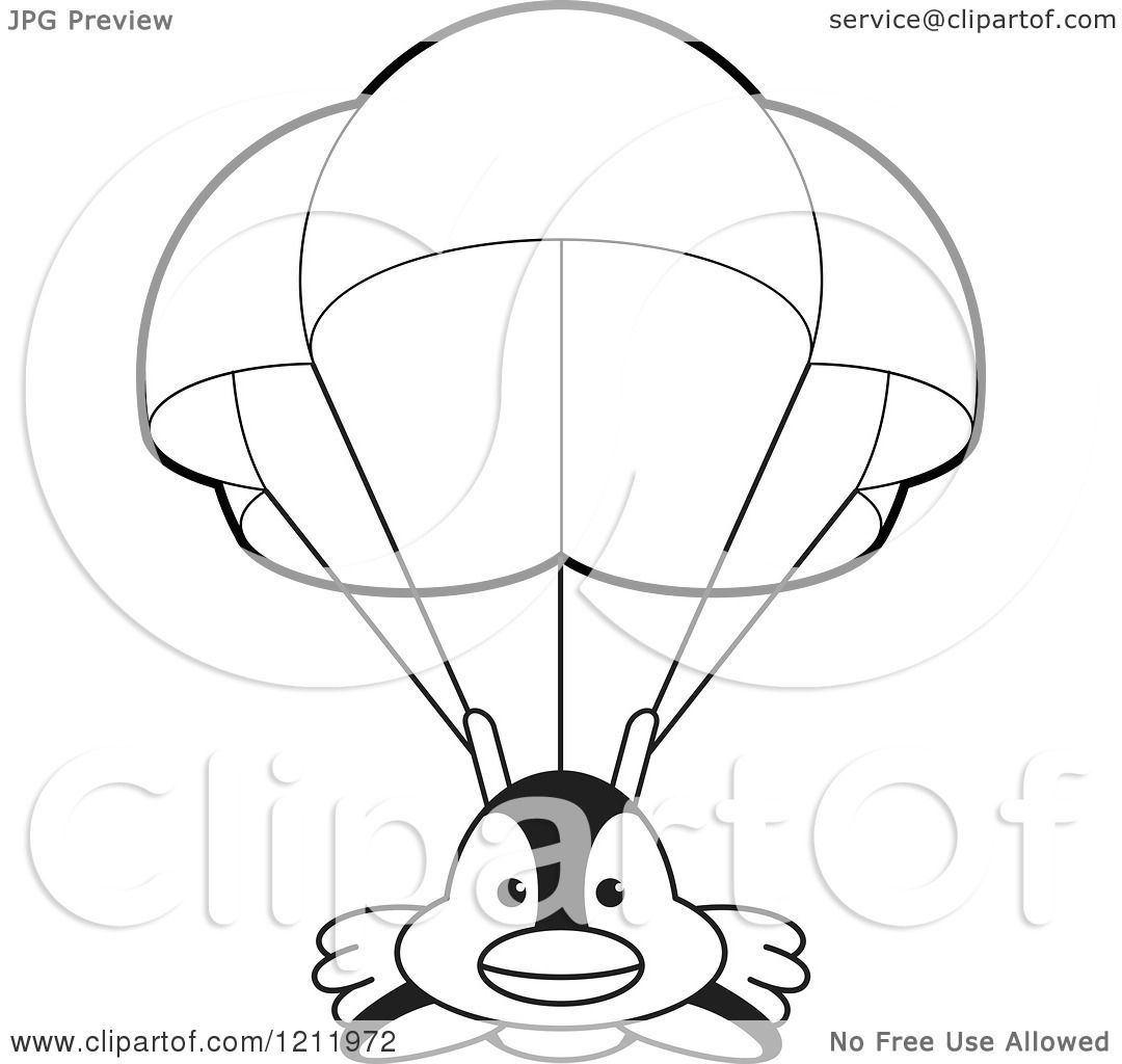 Clipart Of A Black And White Happy Penguin Parachuting