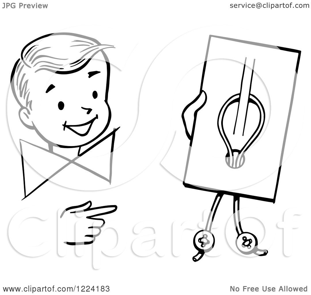 Clipart Of A Black And White Happy Retro Boy Performing A