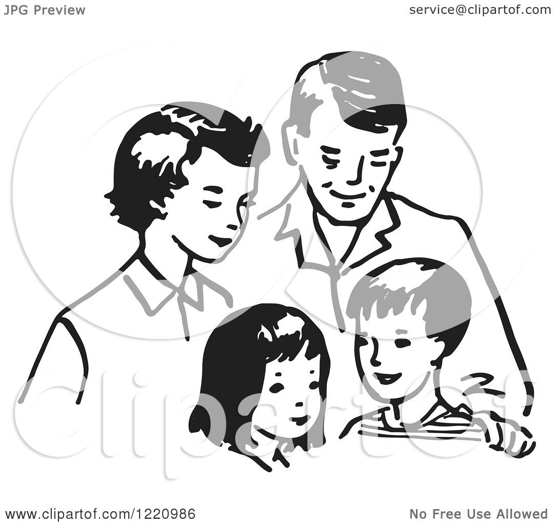 Clipart Of A Black And White Happy Retro Family
