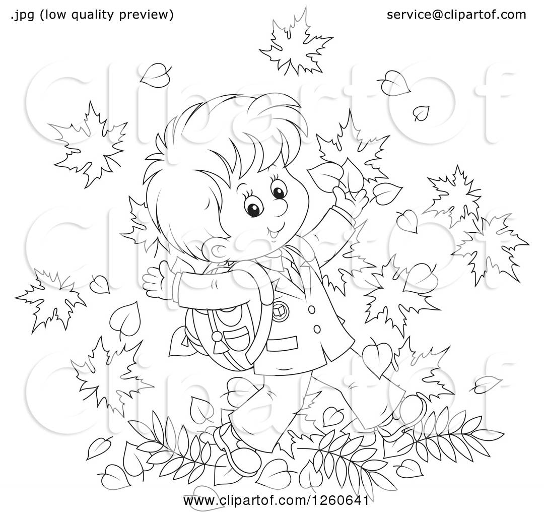 Clipart Of A Black And White Happy School Boy Jumping In