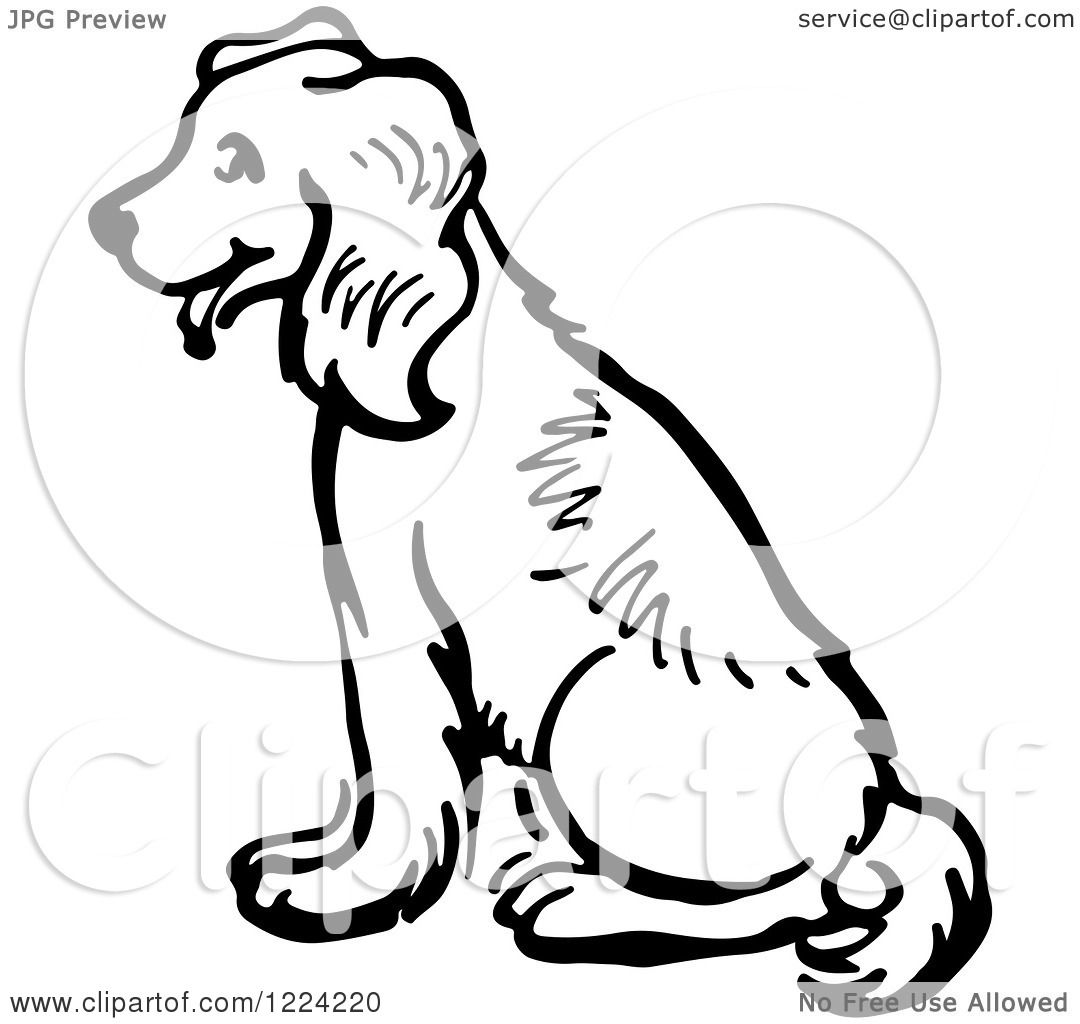 Clipart Of A Black And White Happy Sitting Dog