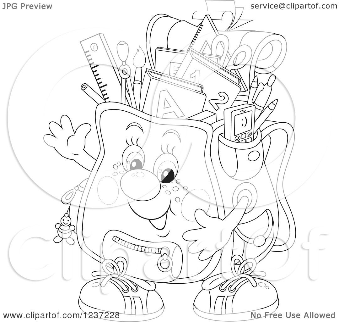 Clipart Of A Black And White Happy Waving Backpack Full Of School Supplies