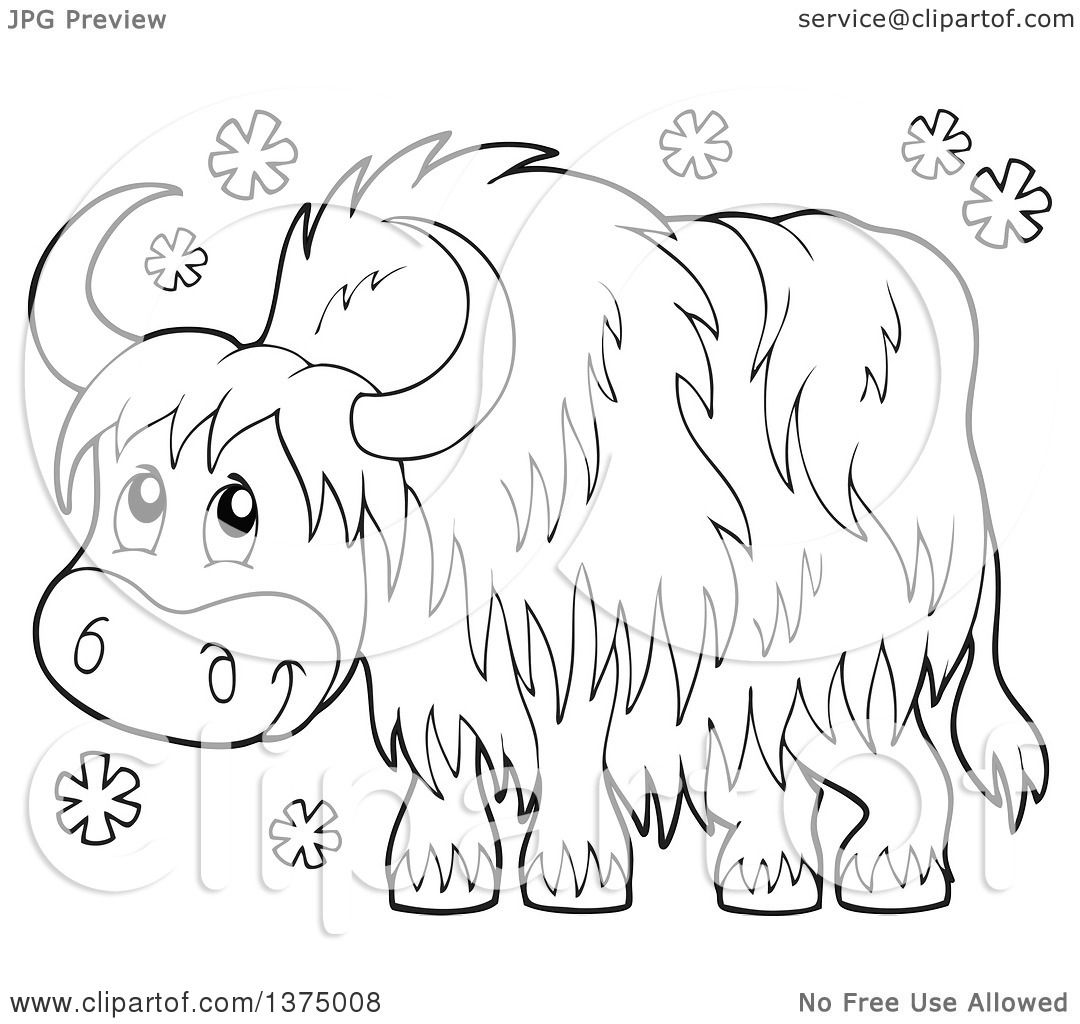 Clipart Of A Black And White Happy Yak In The Snow