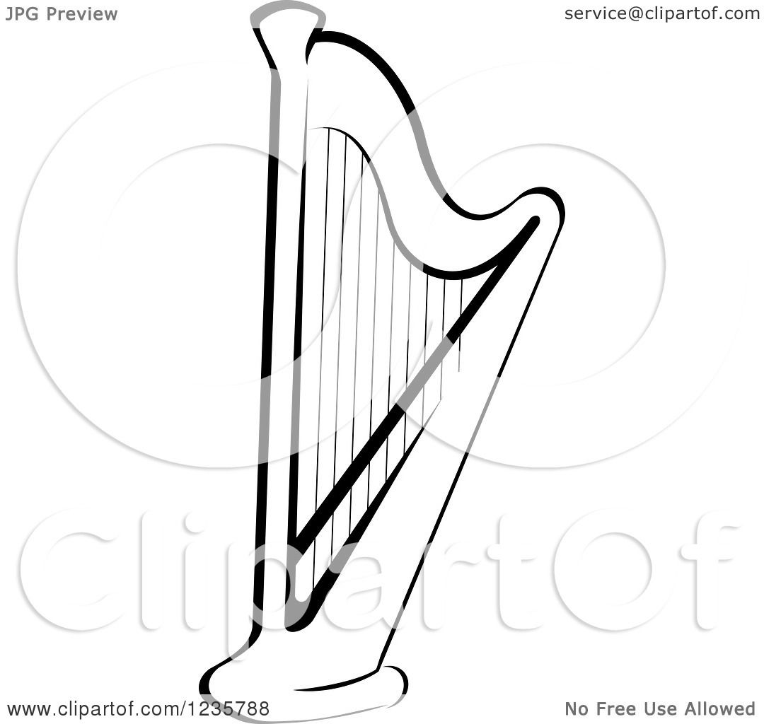 Clipart Of A Black And White Harp