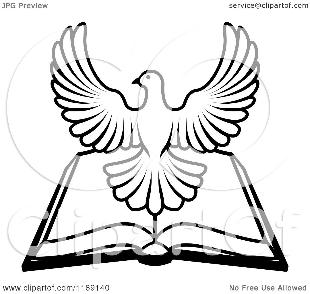 Clipart Of A Black And White Holy Spirit Dove Over An Open