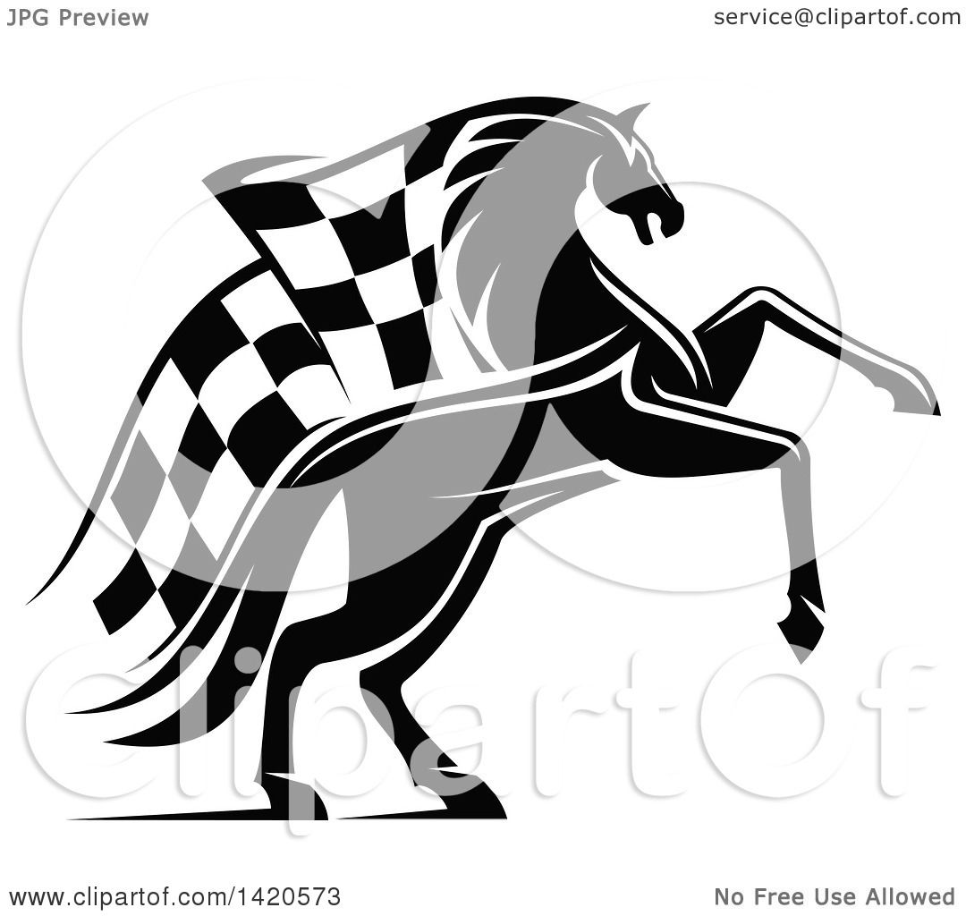 Clipart Of A Black And White Horse With A Checkered Racing Flag Mane