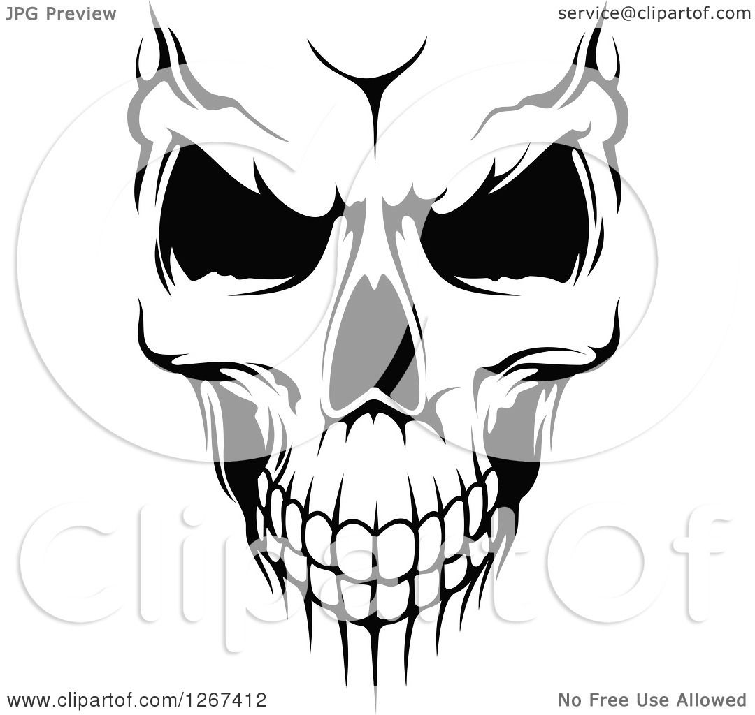 Clipart Of A Black And White Human Skull With An Evil