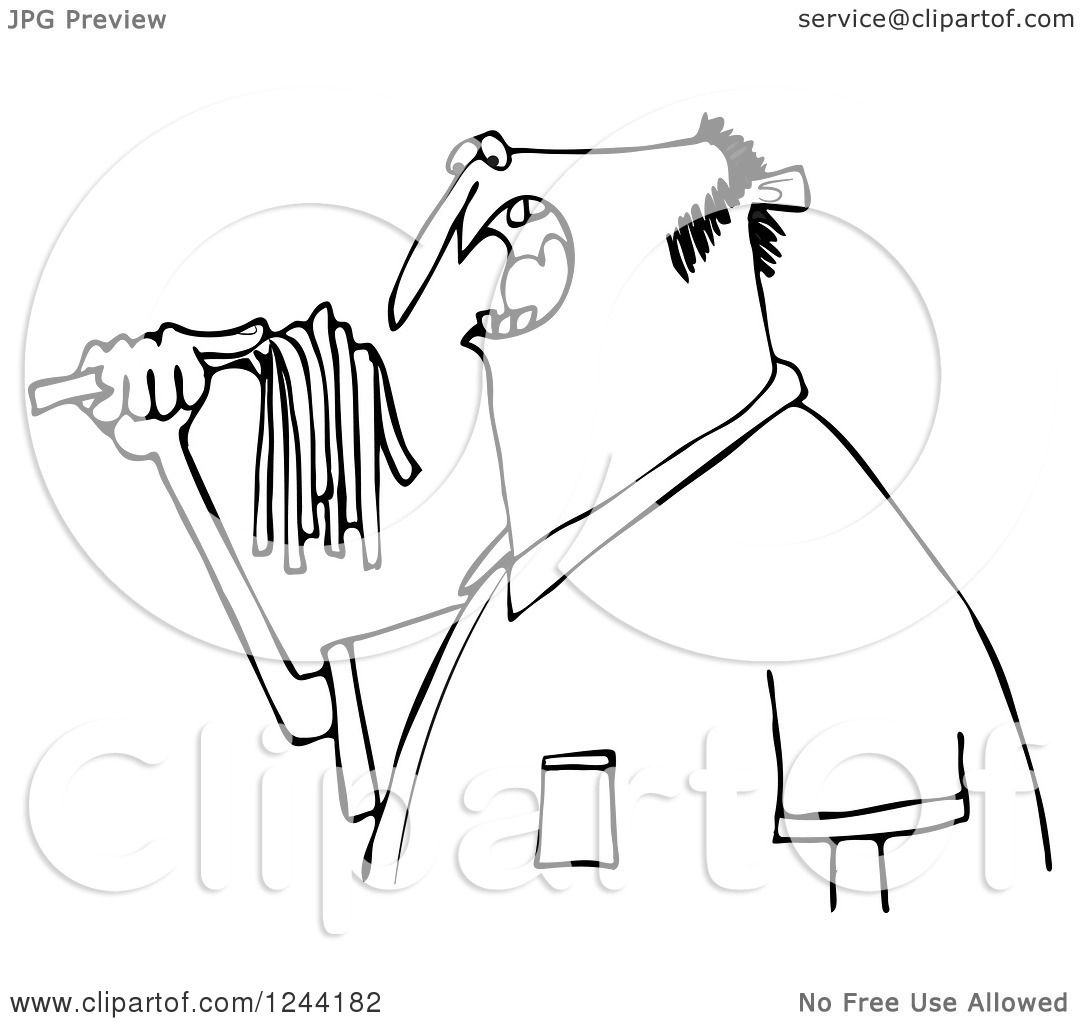 Clipart Of A Black And White Hungry Man Eating Spaghetti