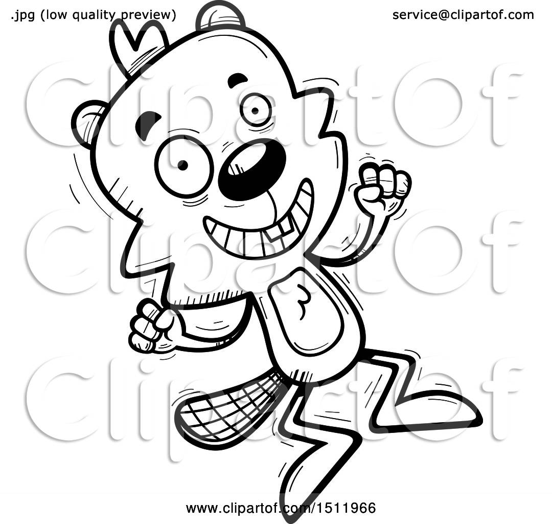 Clipart Of A Black And White Jumping Male Beaver
