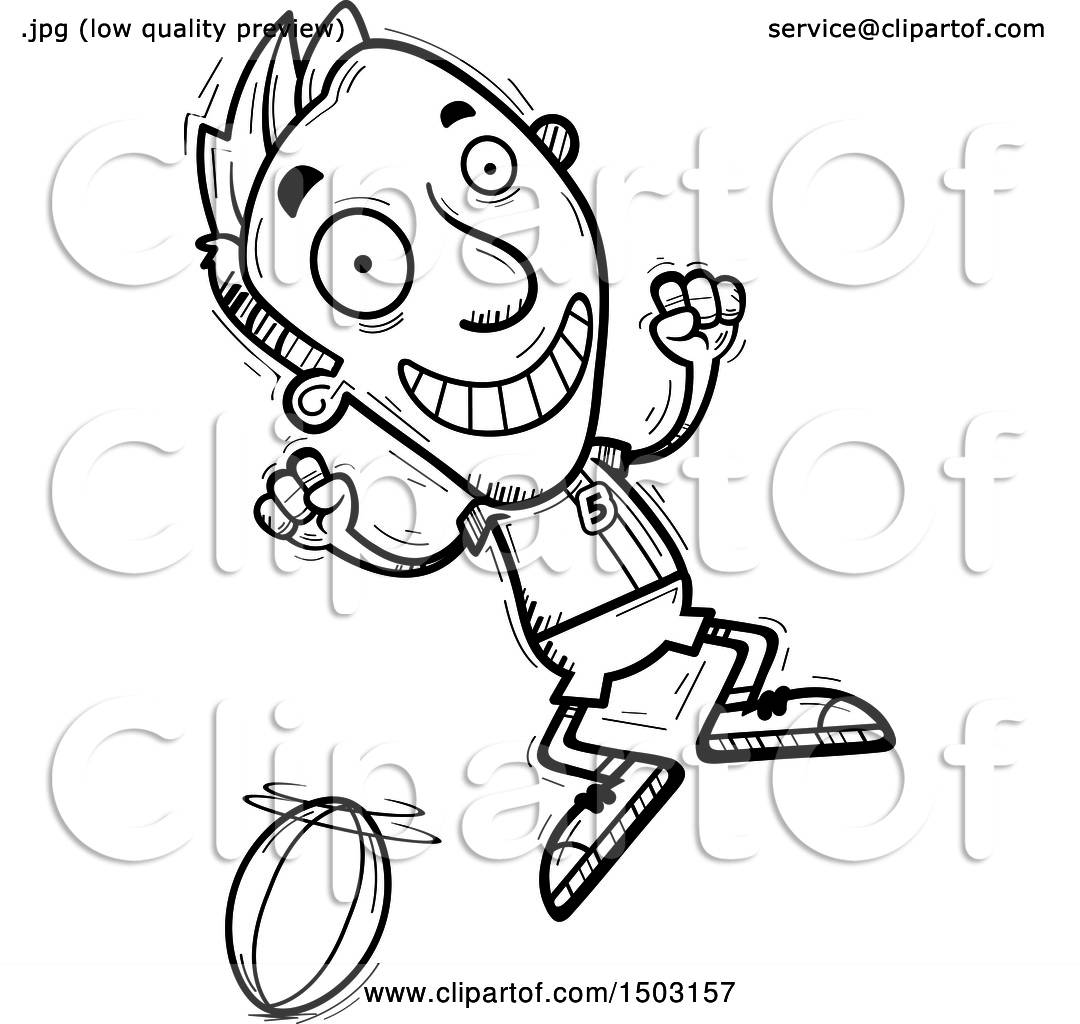 Clipart Of A Black And White Jumping Male Rugby Player