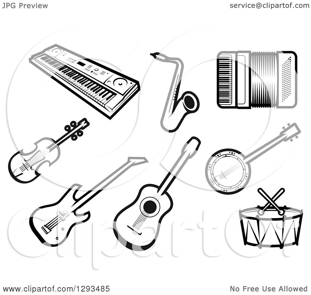 Clipart Of A Black And White Keyboard Saxophone