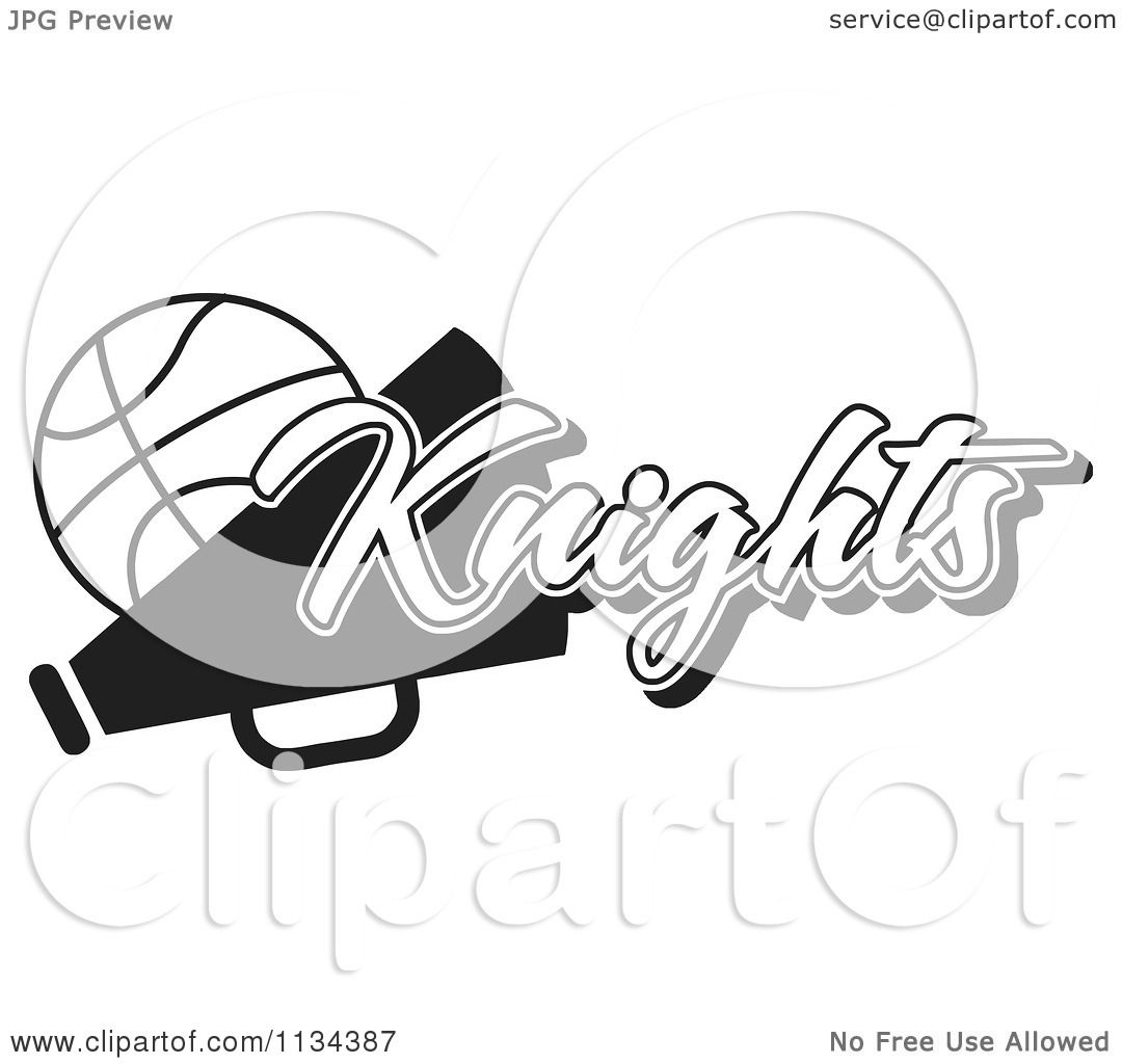 Clipart Of A Black And White Knights Basketball