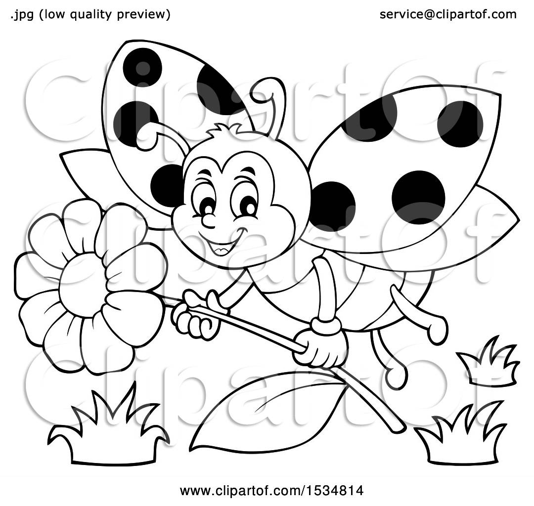 Clipart Of A Black And White Ladybug Flying With A Flower