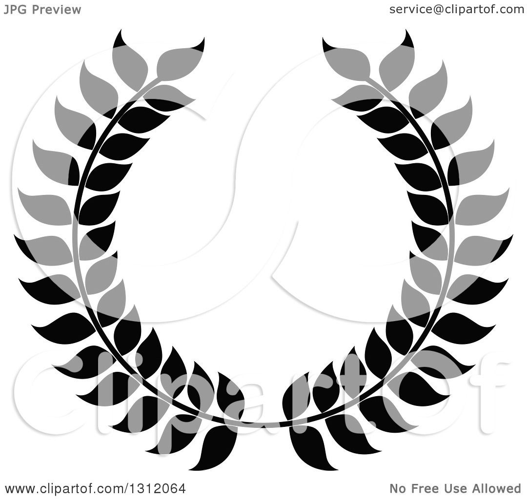 Clipart Of A Black And White Laurel Wreath 18