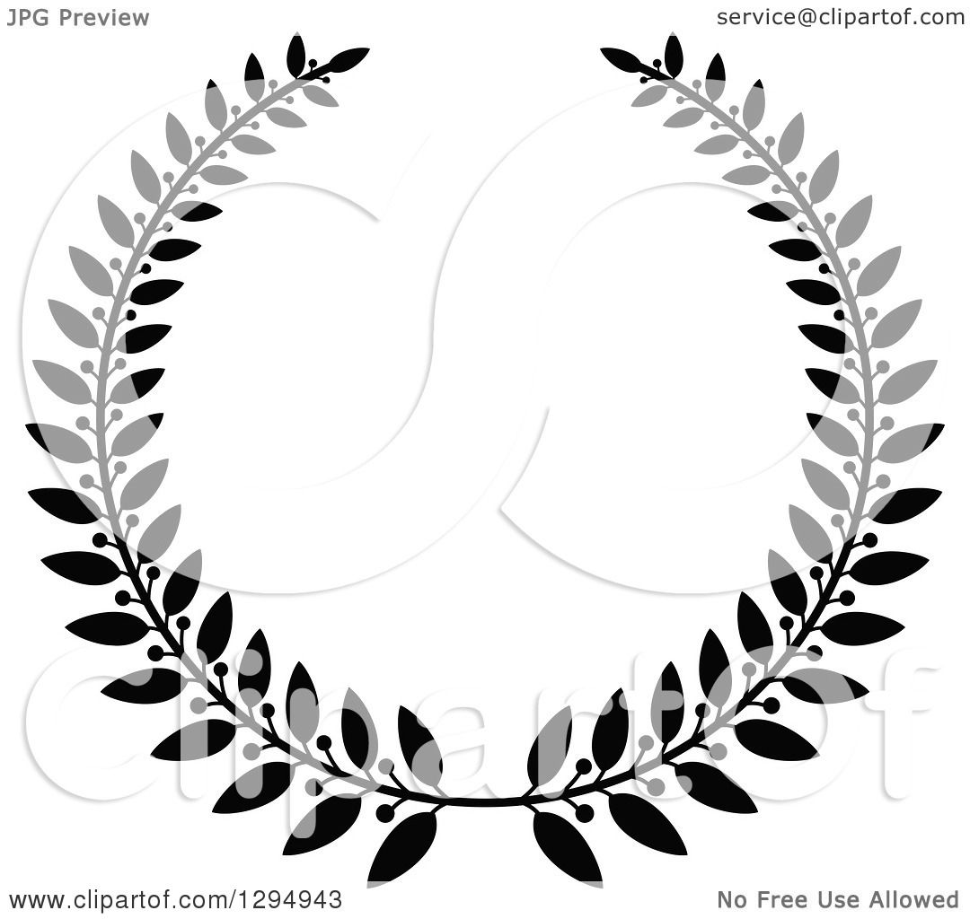 Clipart Of A Black And White Laurel Wreath 3