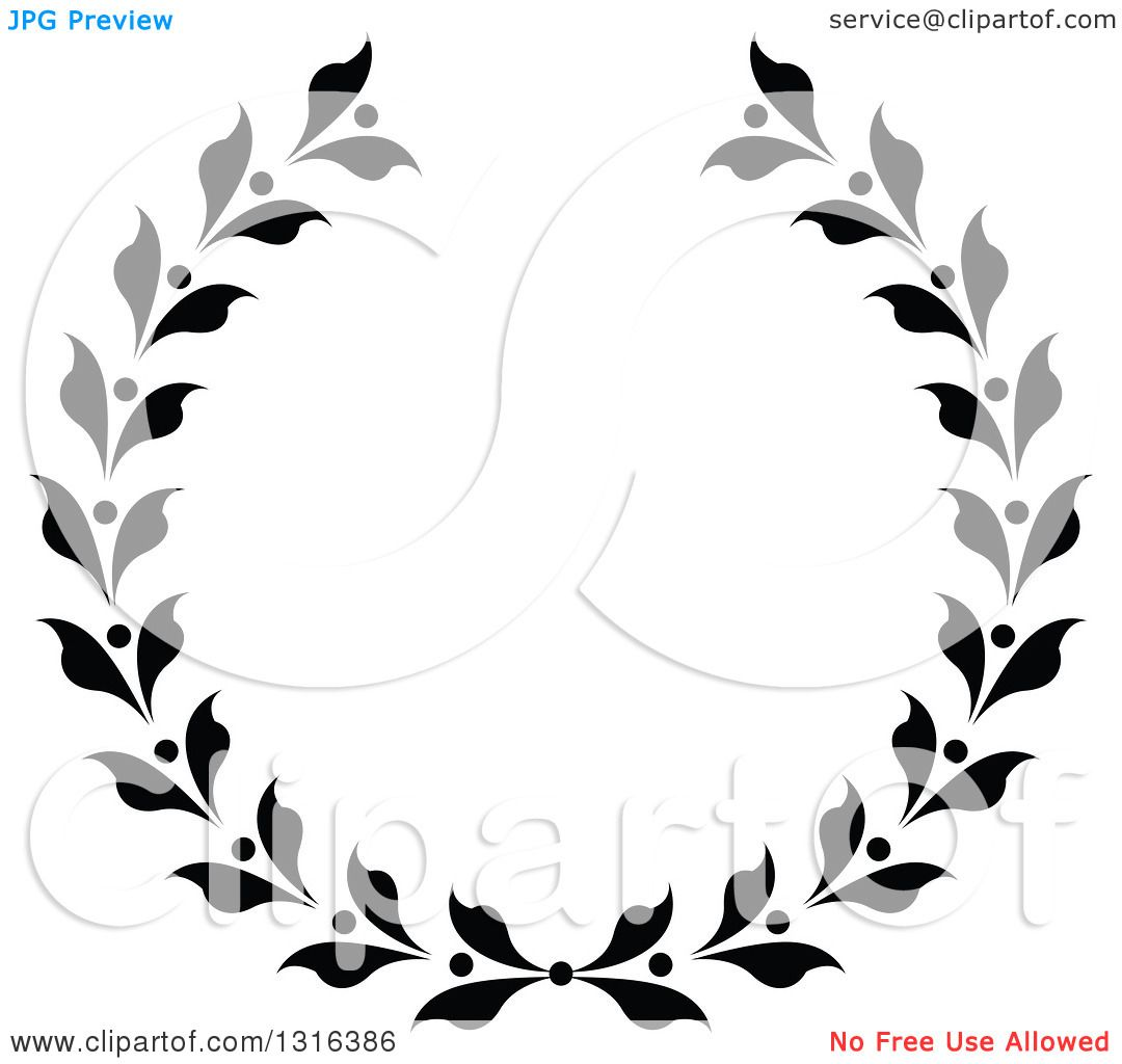 Clipart Of A Black And White Laurel Wreath Design
