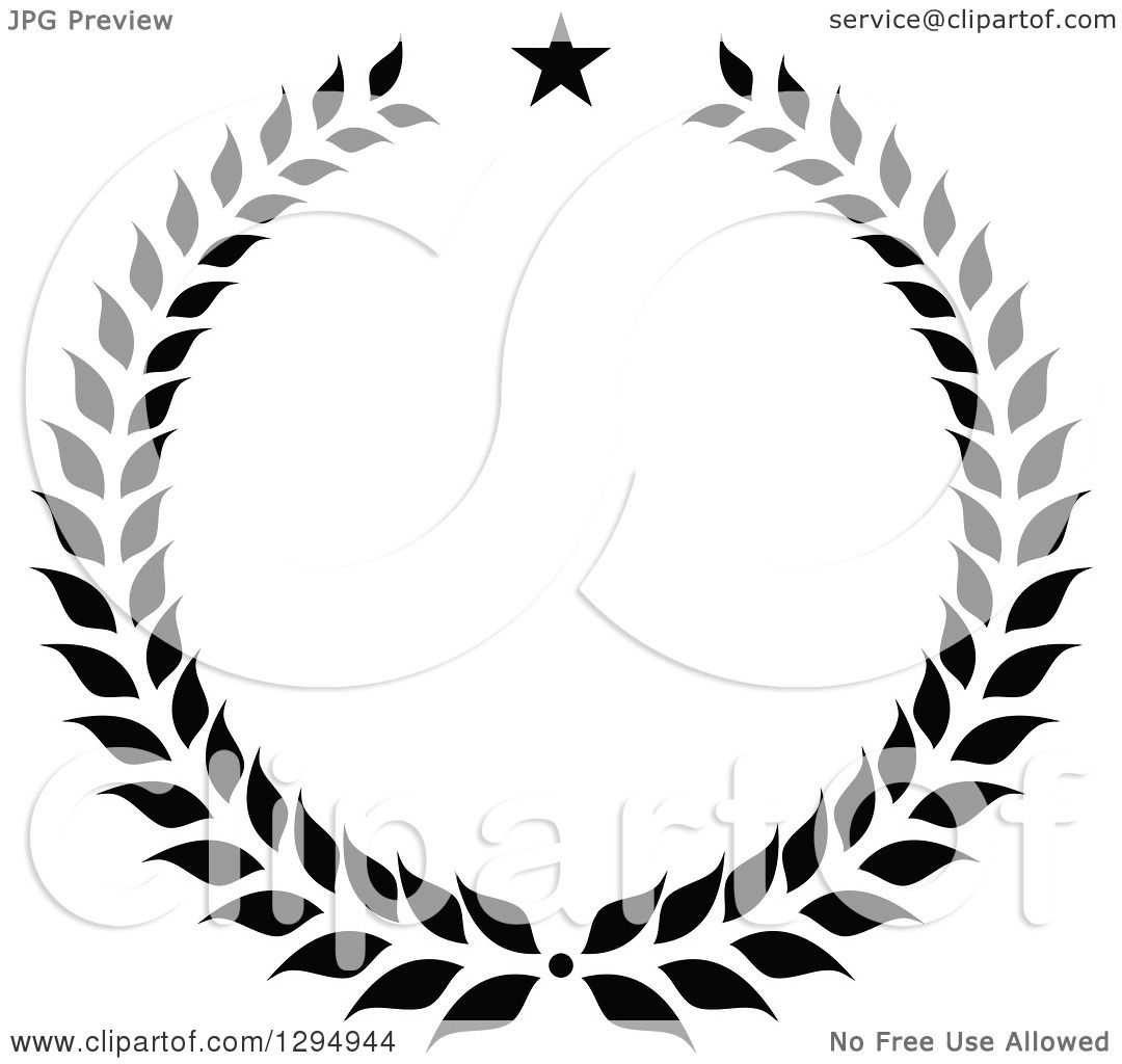 Clipart Of A Black And White Laurel Wreath With A Star