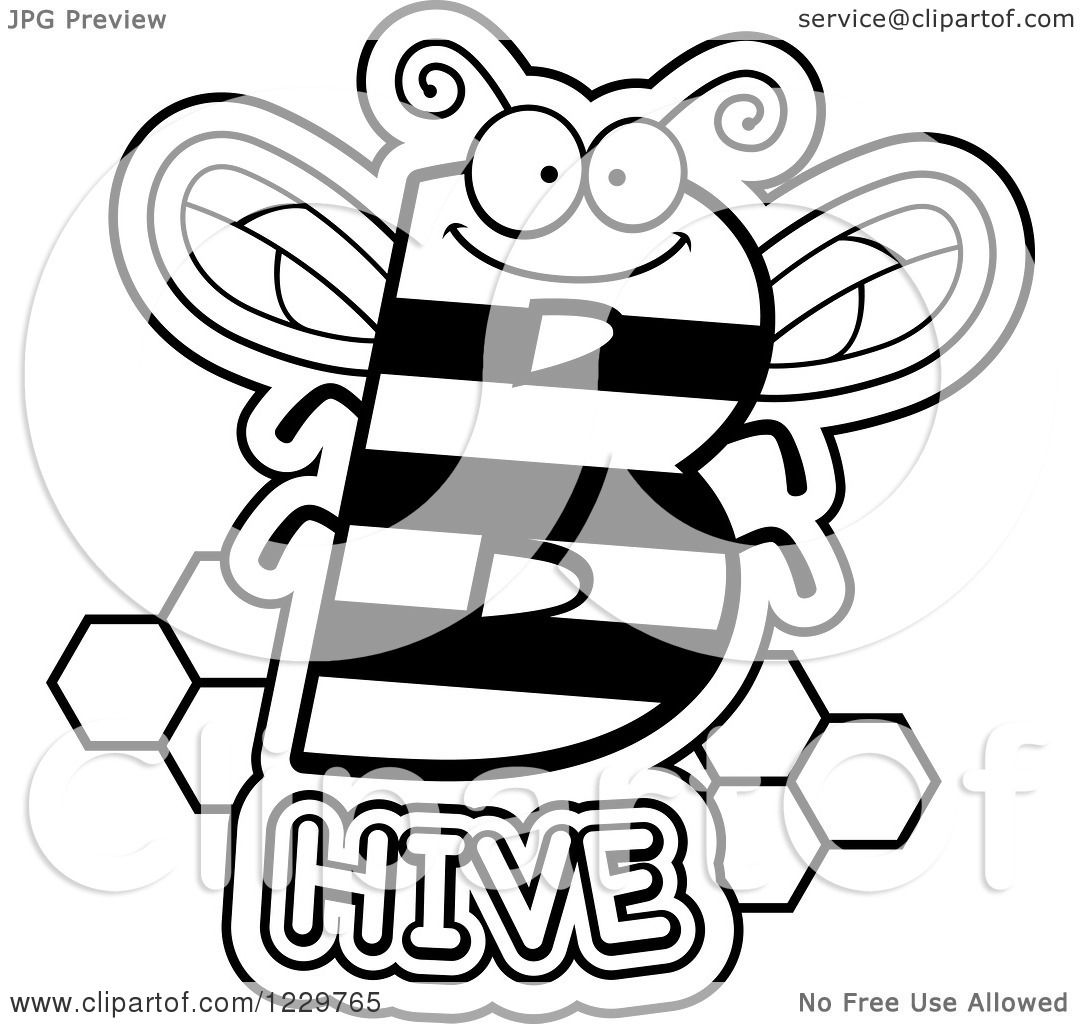 Clipart Of A Black And White Letter B Bee With Hive Text