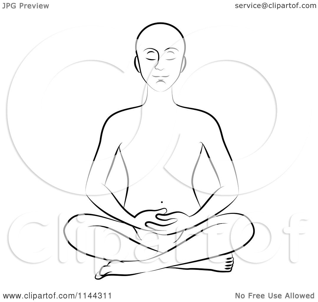 Clipart Of A Black And White Line Drawing Of A Man