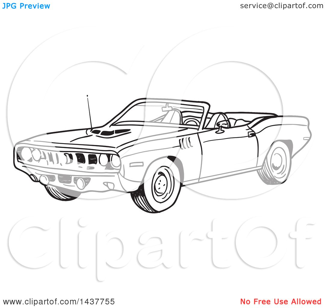 Clipart Of A Black And White Lineart Hemi Plymouth