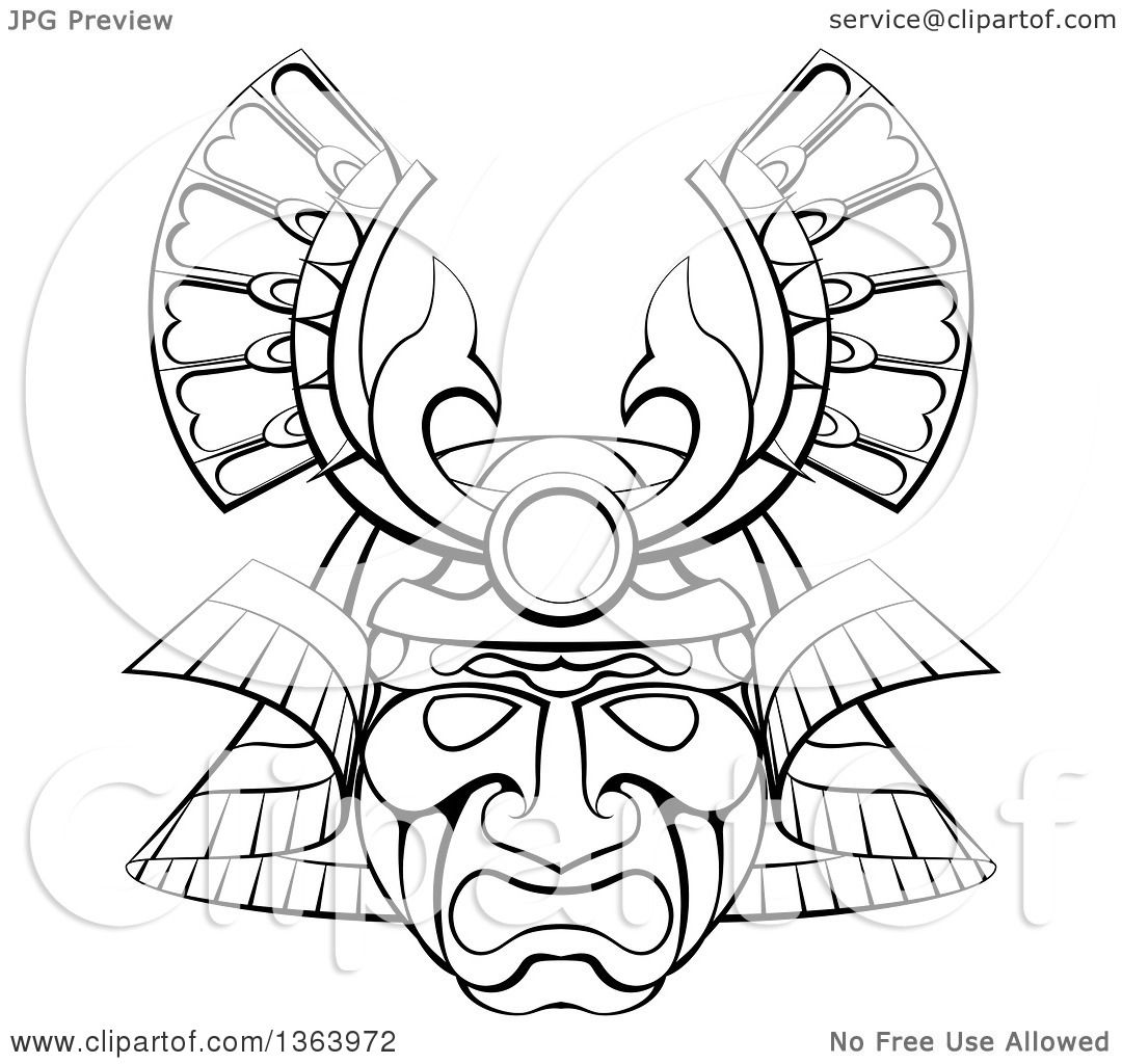 Clipart Of A Black And White Lineart Asian Samurai Mask