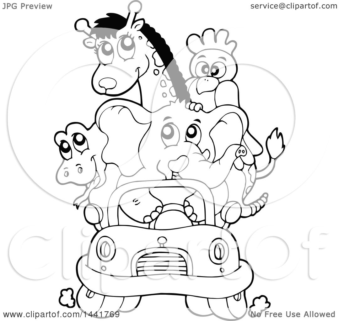 Clipart Of A Black And White Lineart Car Full Of Zoo