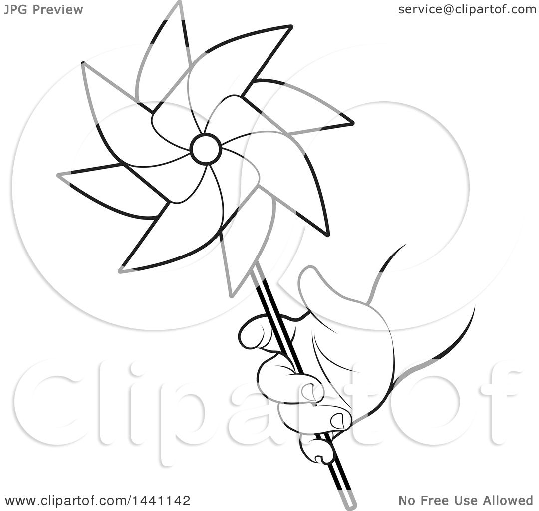 Clipart Of A Black And White Lineart Child S Hand Holding