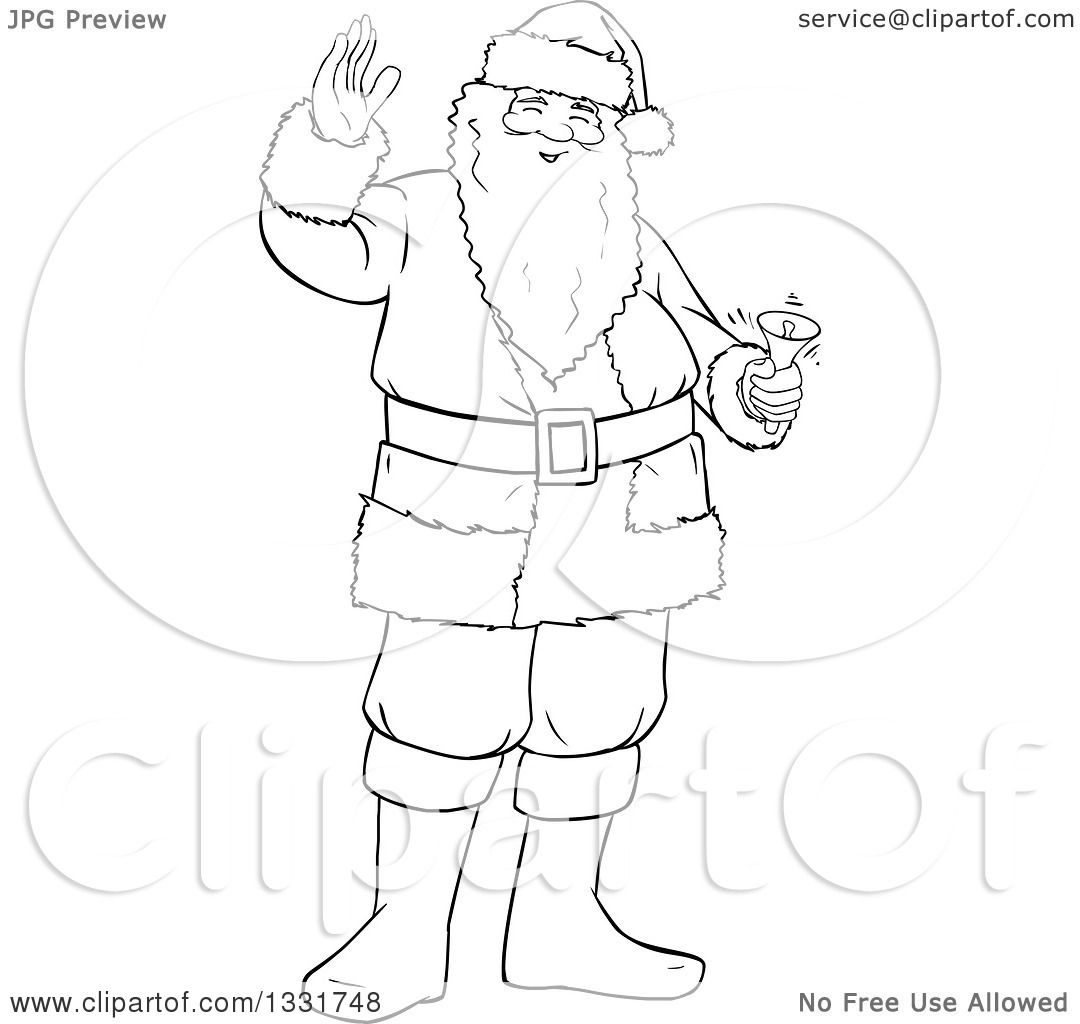 Clipart Of A Black And White Lineart Christmas Santa Claus Waving And Ringing A Bell