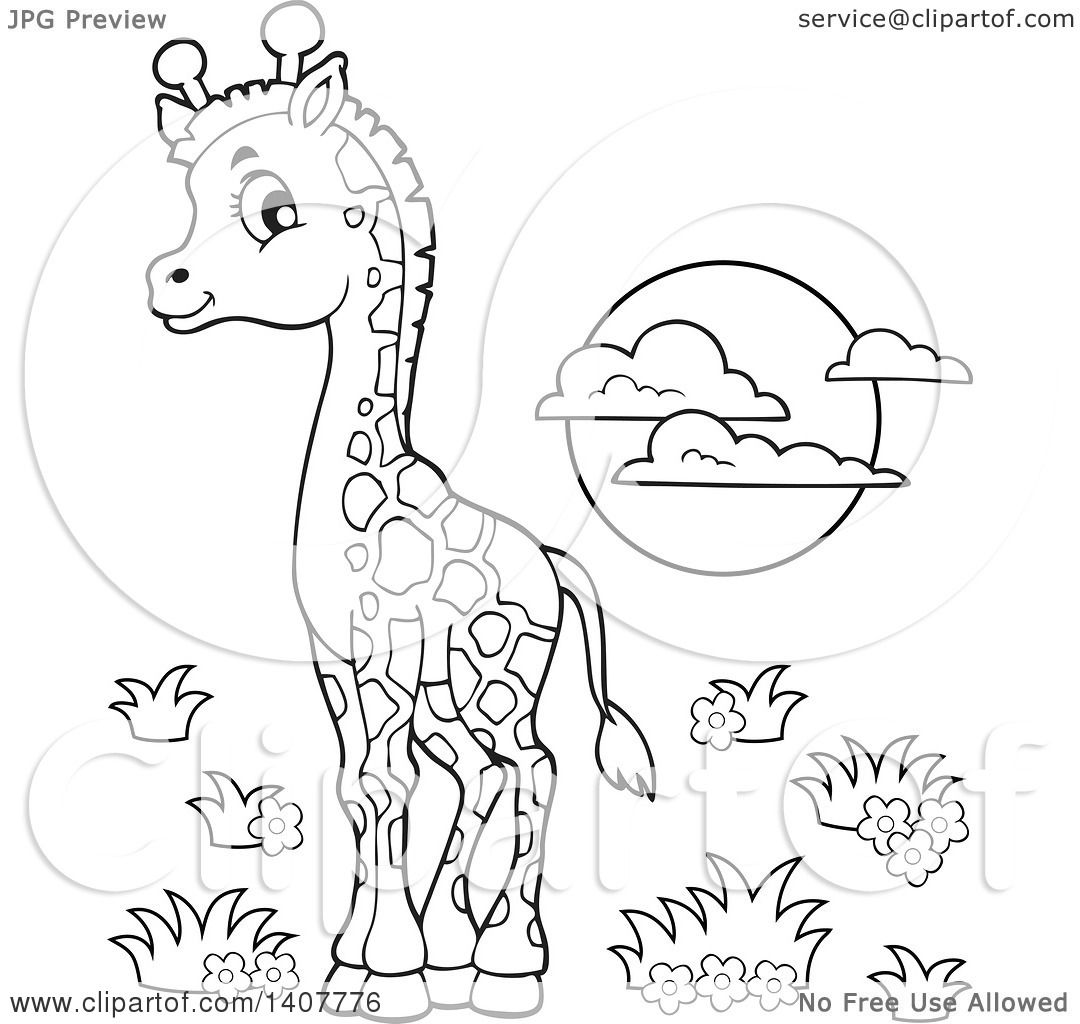 Clipart Of A Black And White Lineart Cute Baby Giraffe And Sun