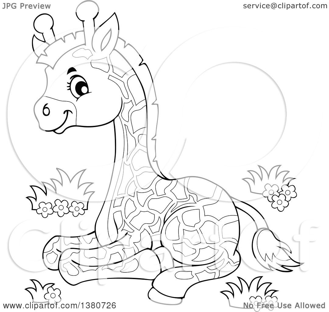 Clipart Of A Black And White Lineart Cute Baby Giraffe Resting