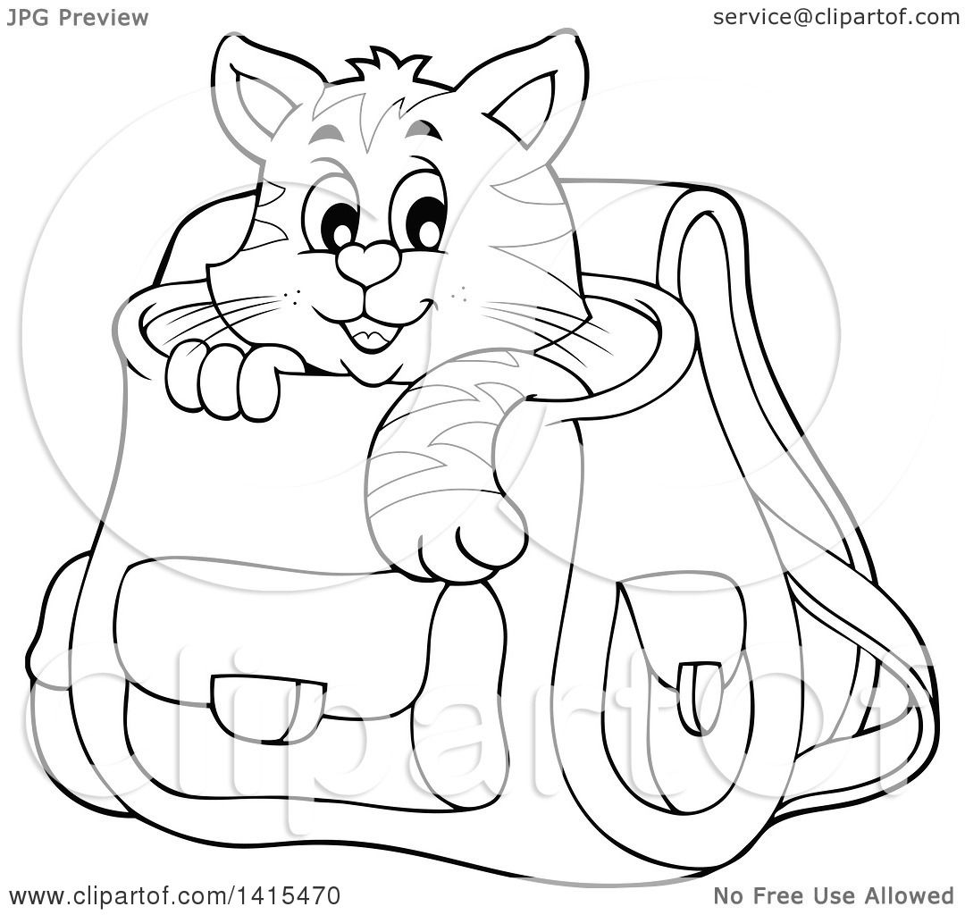 Clipart Of A Black And White Lineart Cute Cat Inside A