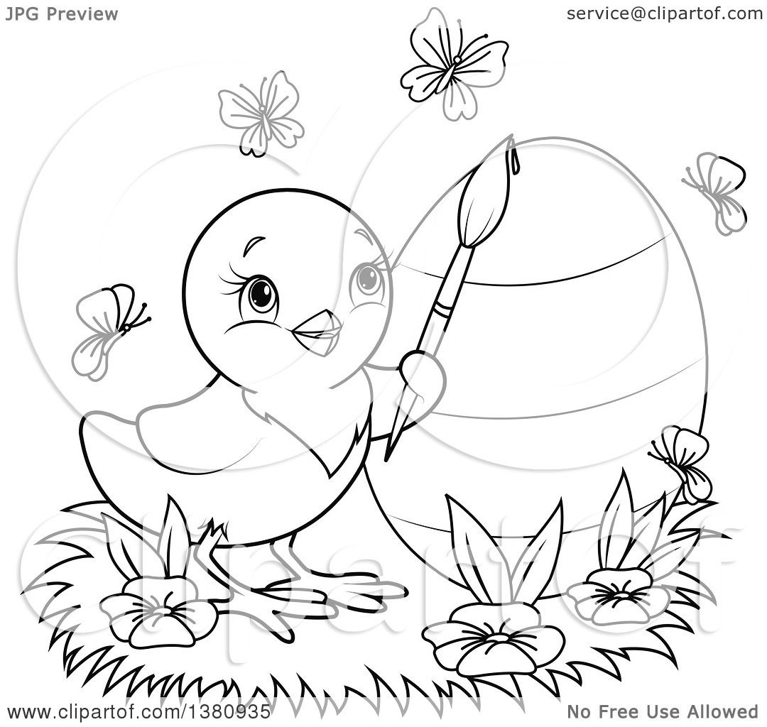 Clipart Of A Black And White Lineart Easter Chick Painting