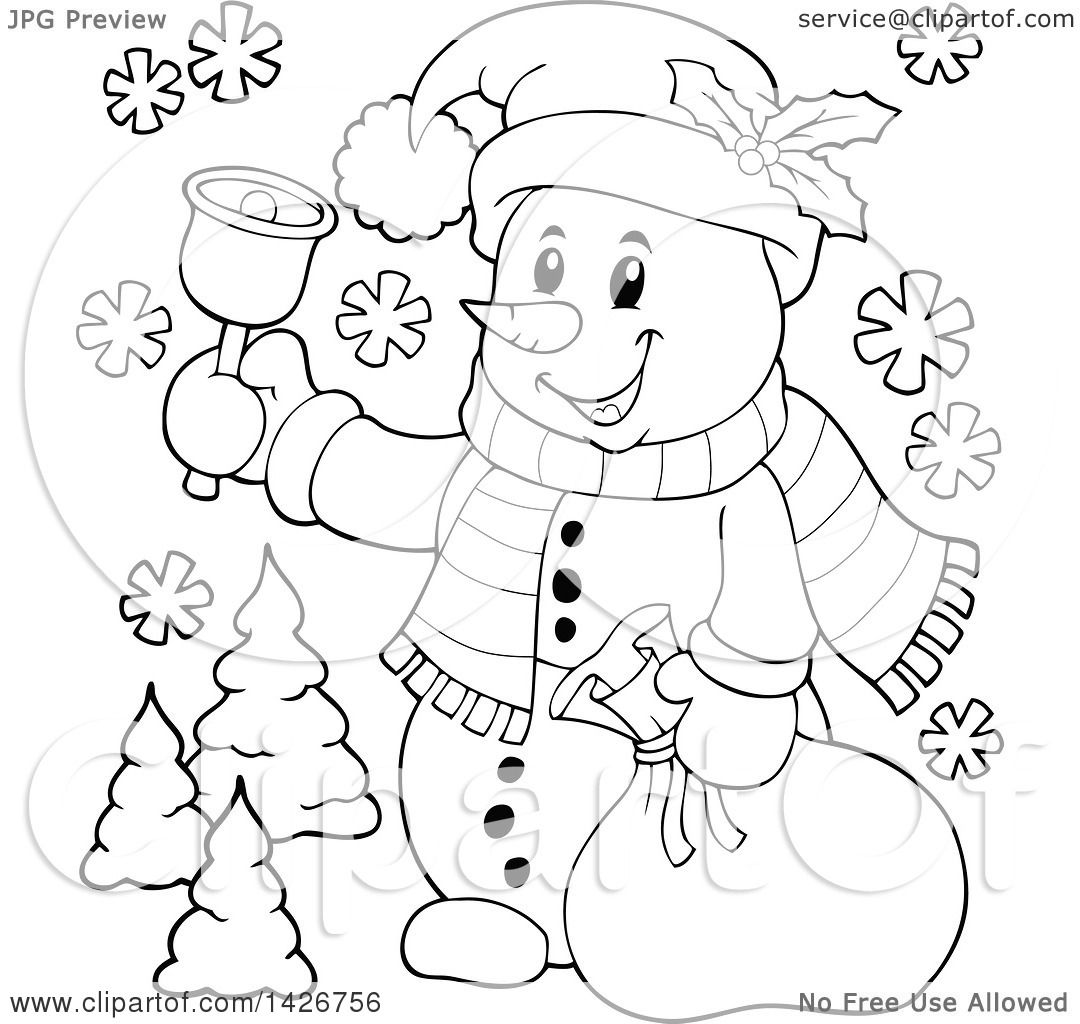 Clipart Of A Black And White Lineart Festive Christmas