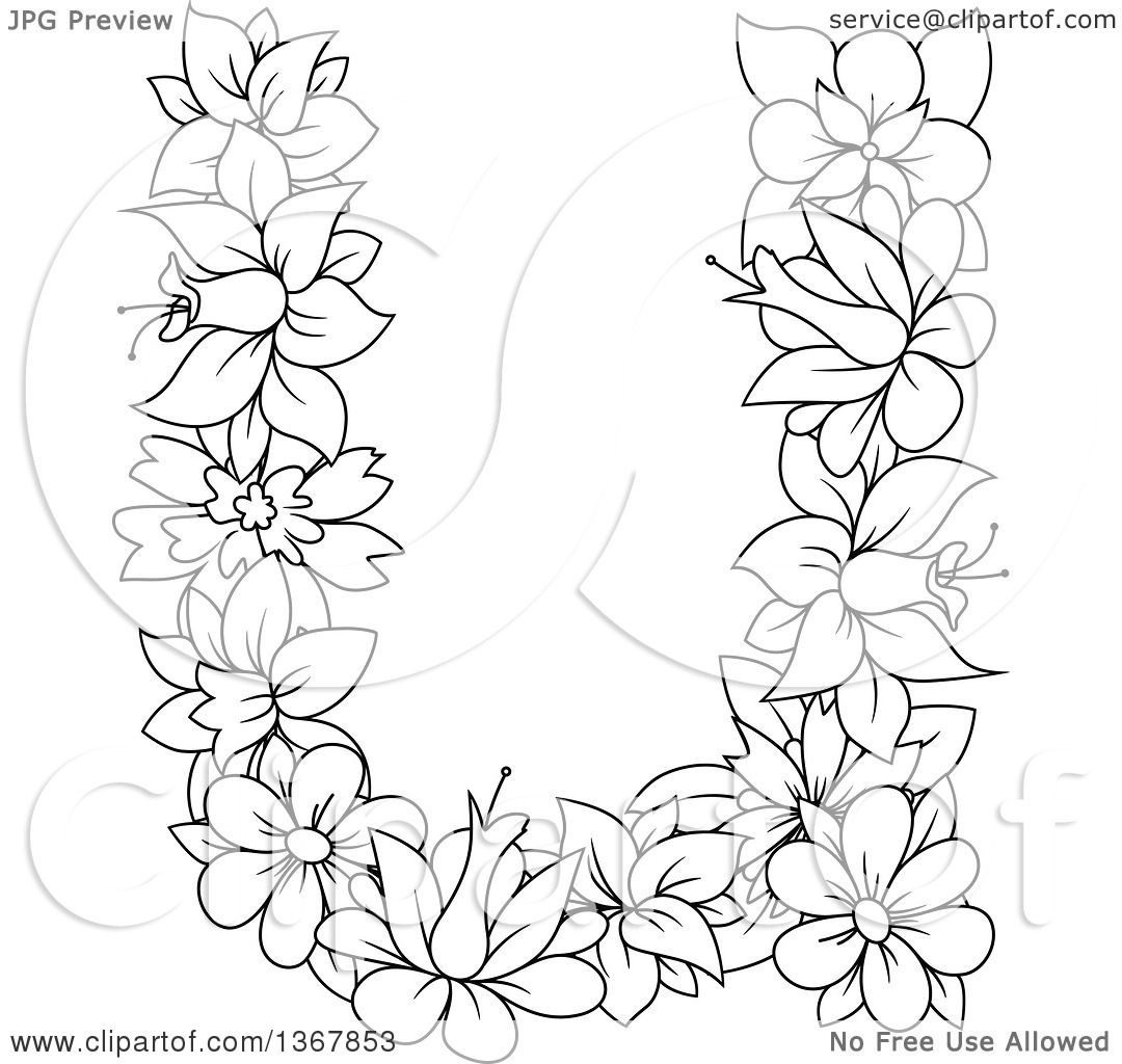 Clipart Of A Black And White Lineart Floral Lowercase