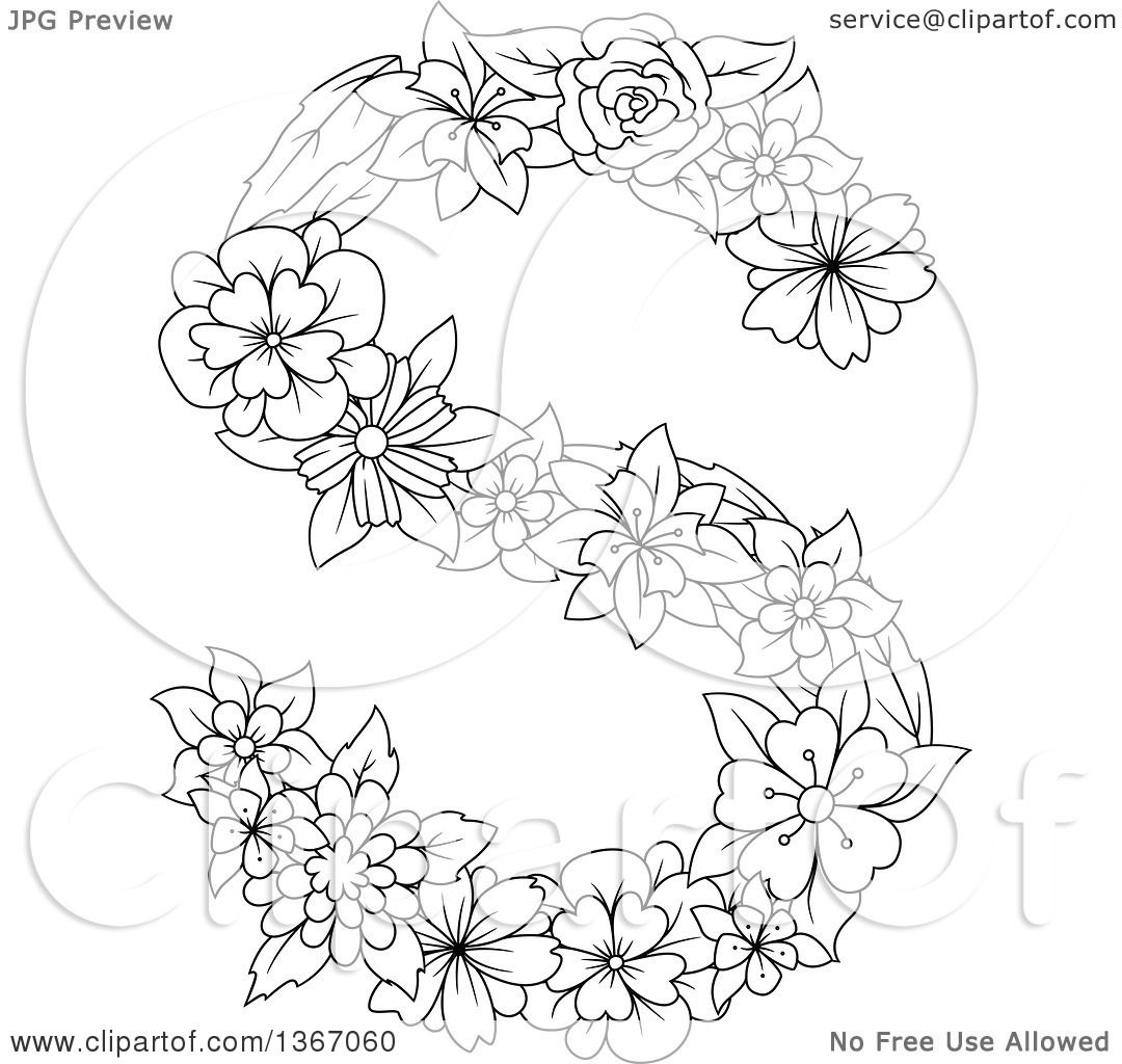 Clipart Of A Black And White Lineart Floral Uppercase