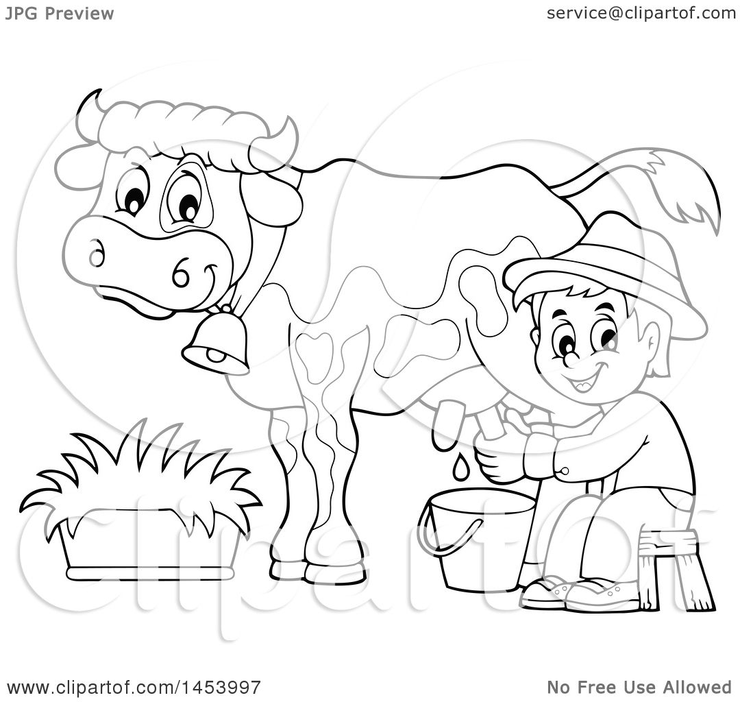 Clipart Of A Black And White Lineart Happy Farmer Boy