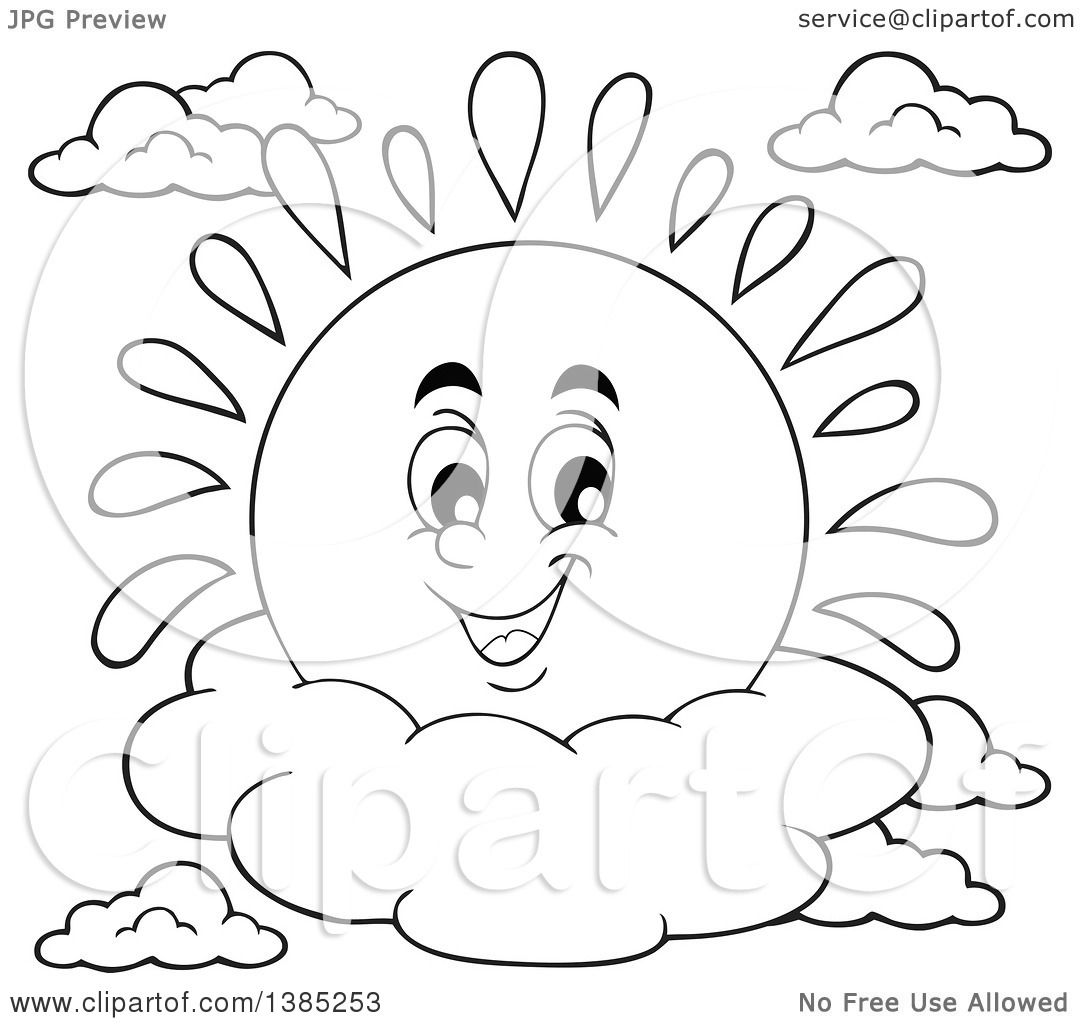 Clipart Of A Black And White Lineart Happy Sun Character