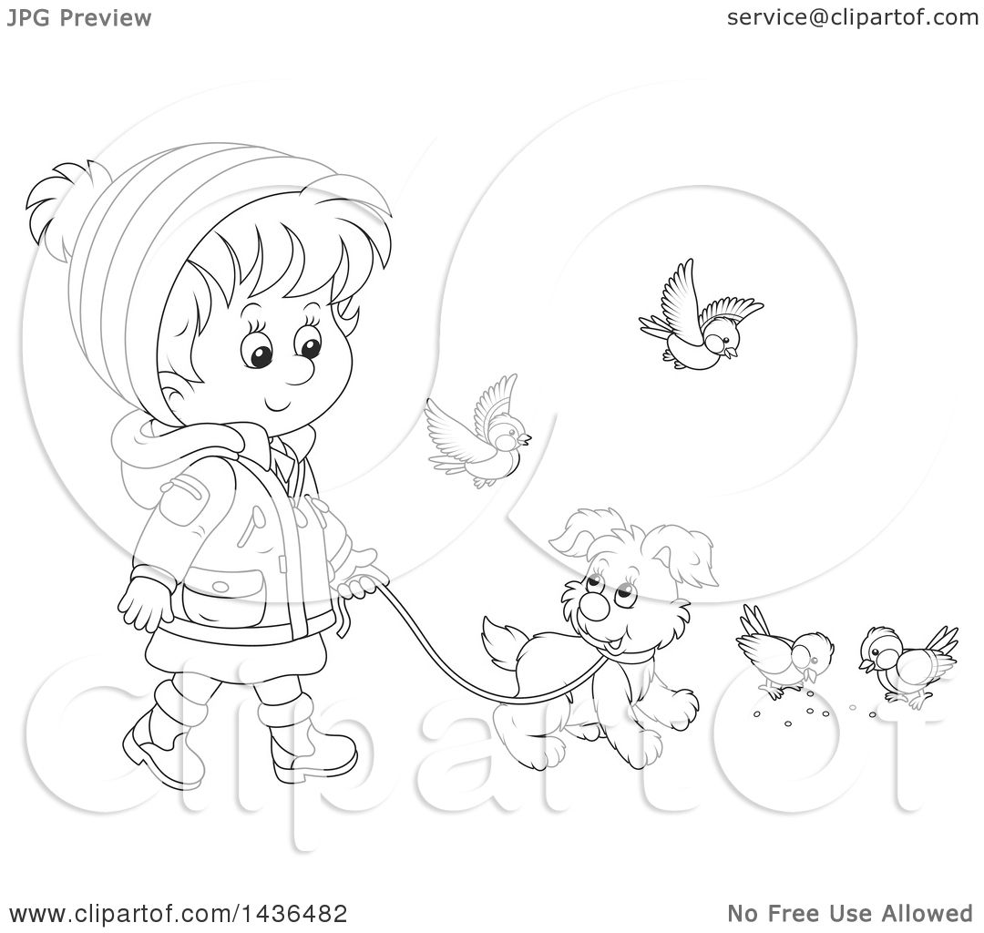 Clipart Of A Black And White Lineart Little Girl In Winter