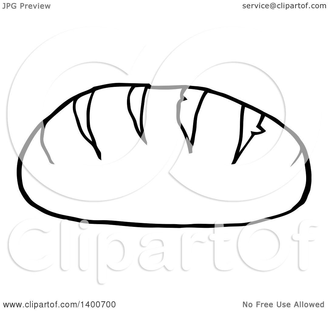 Clipart Of A Black And White Lineart Loaf Of Bread