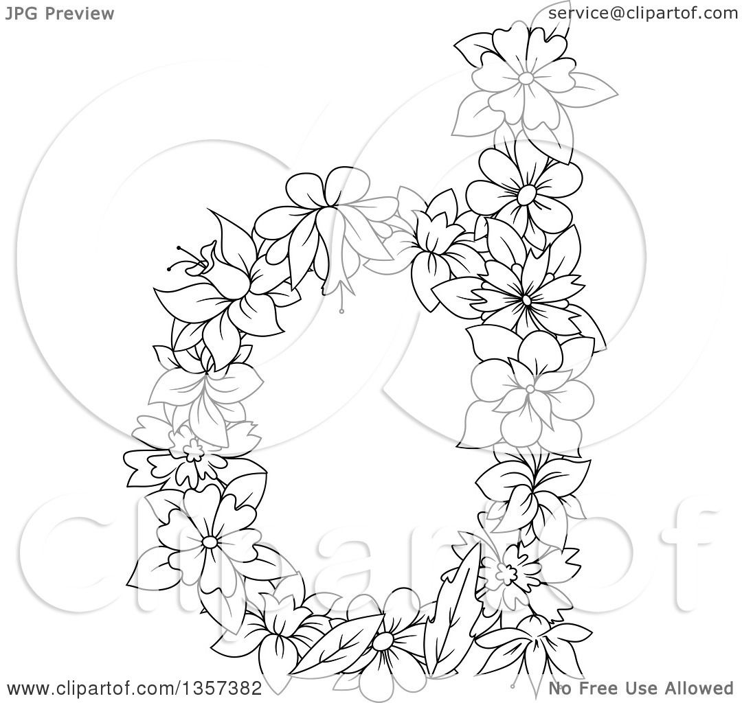 Clipart Of A Black And White Lineart Lowercase Floral