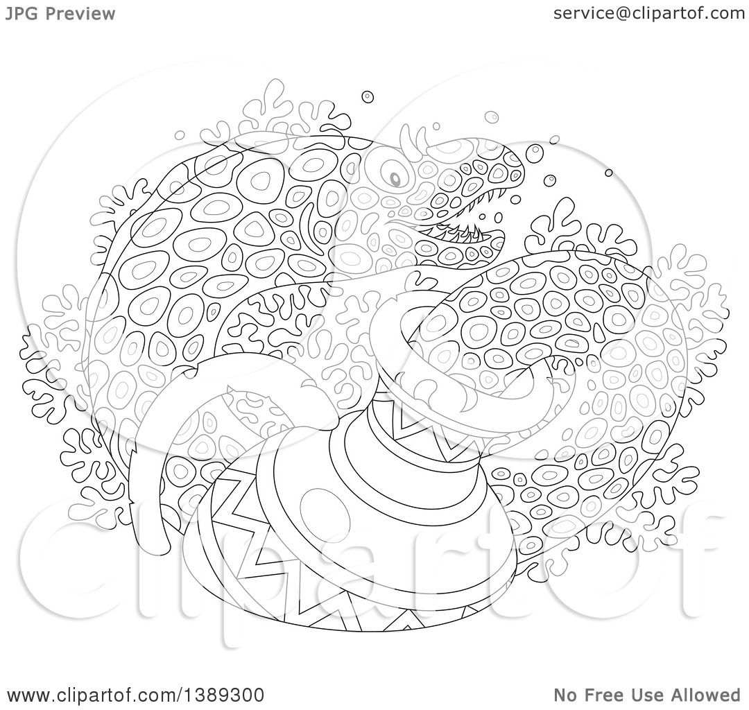 Clipart Of A Black And White Lineart Moray Eel Emerging