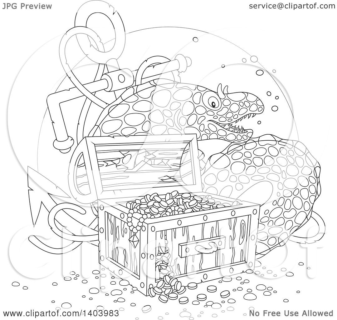 Clipart Of A Black And White Lineart Moray Eel With A