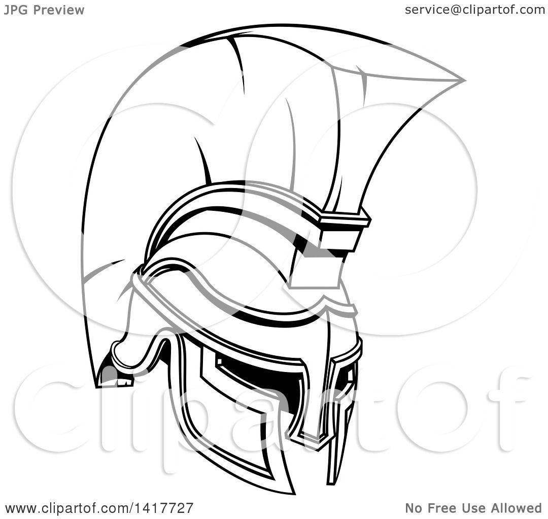 Clipart Of A Black And White Lineart Spartan Or Trojan