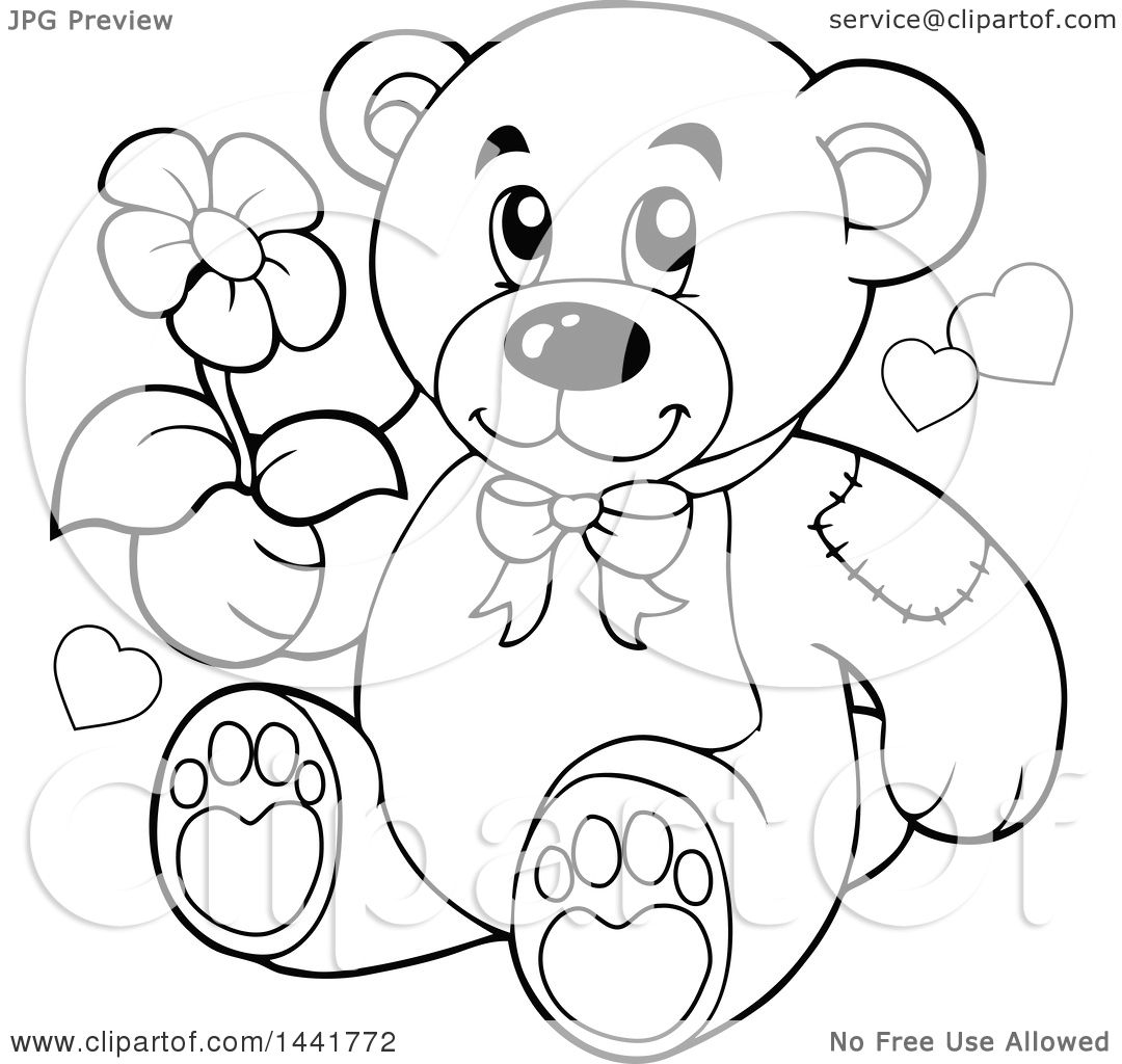 Clipart Of A Black And White Lineart Teddy Bear Holding A