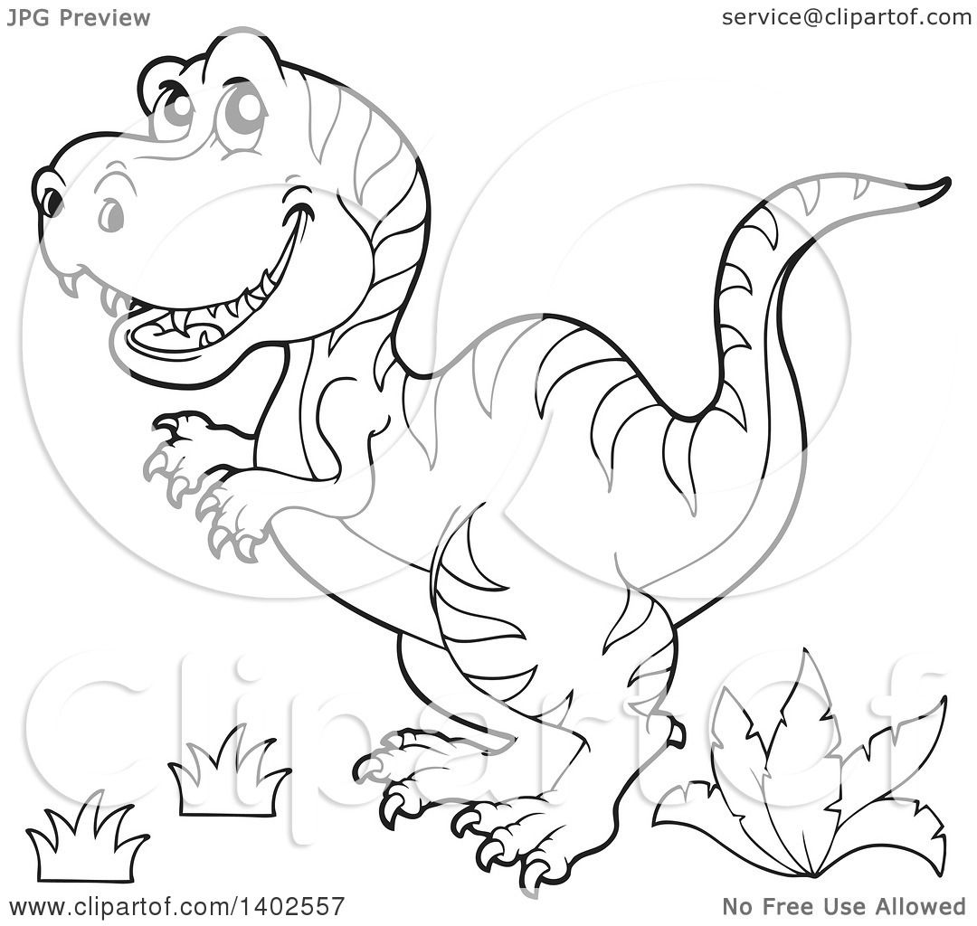 Clipart Of A Black And White Lineart Tyrannosaurus Rex