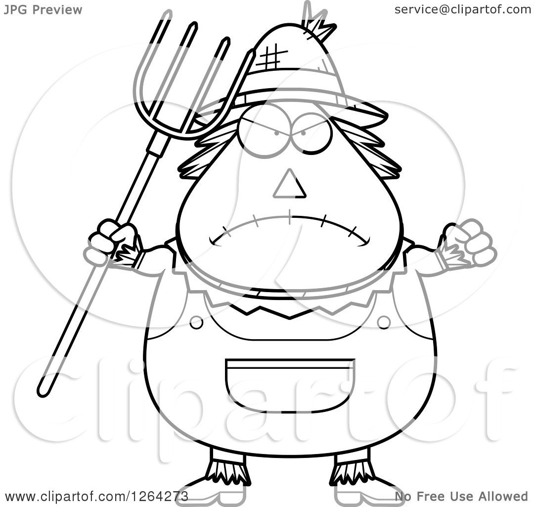 Clipart Of A Black And White Mad Cartoon Chubby Scarecrow Holding Up A Fist And Pitchfork
