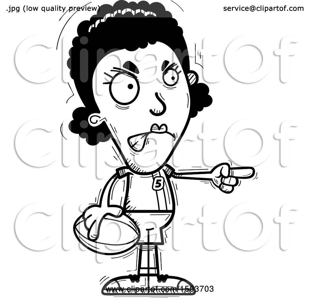 Clipart Of A Black And White Mad Pointing Black Female