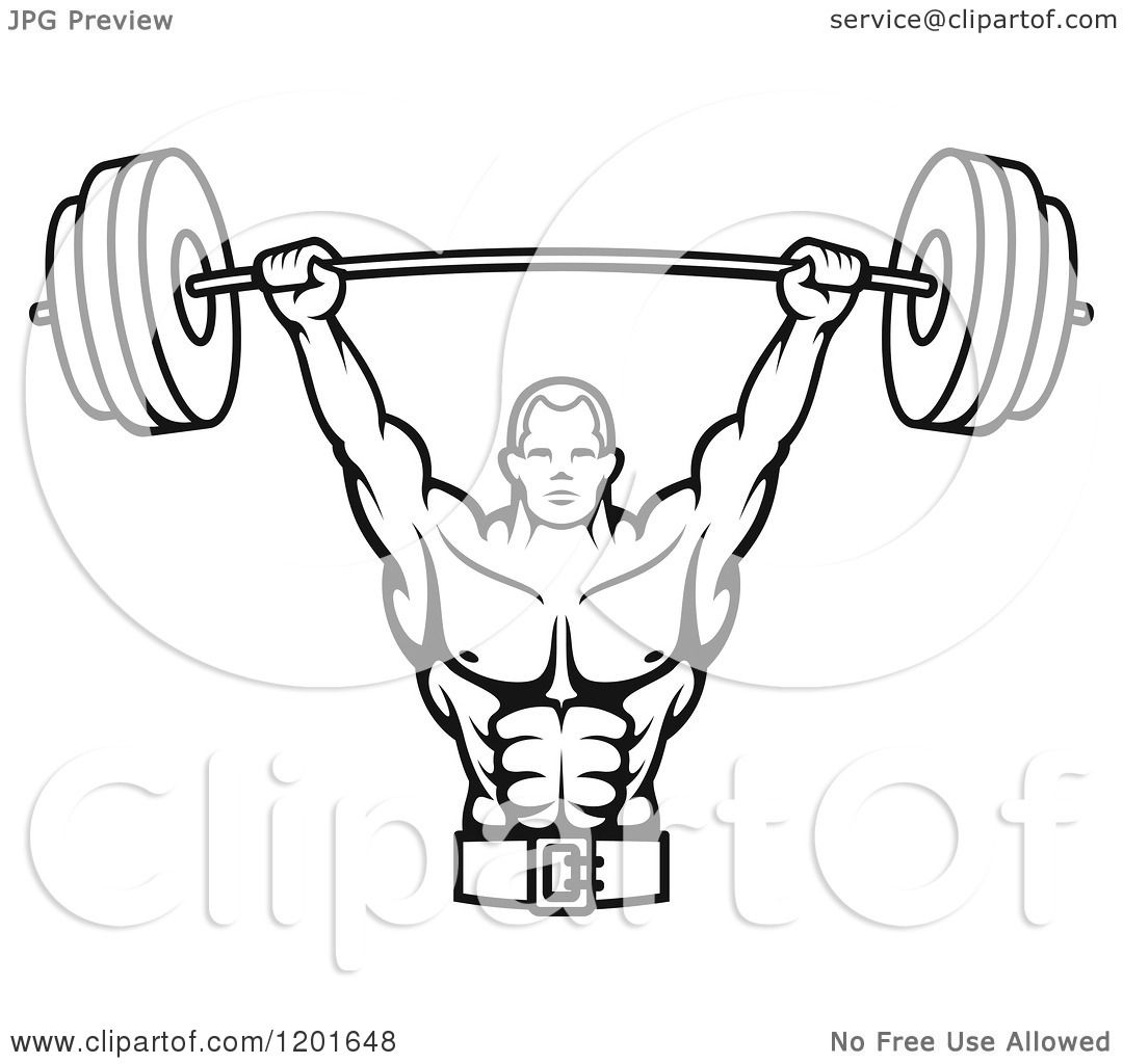 Clipart Of A Black And White Male Bodybuilder Lifting A