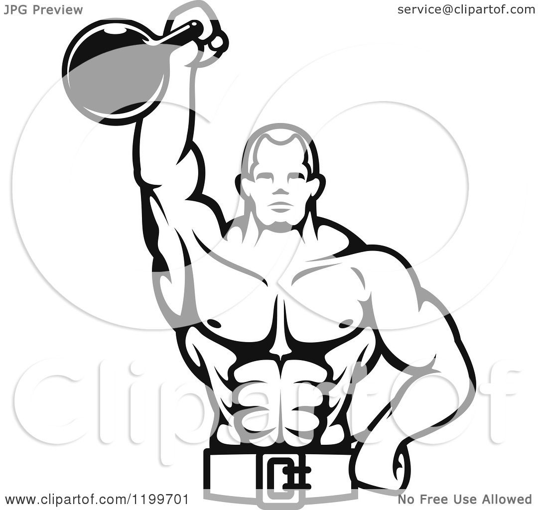 Clipart Of A Black And White Male Bodybuilder Using A