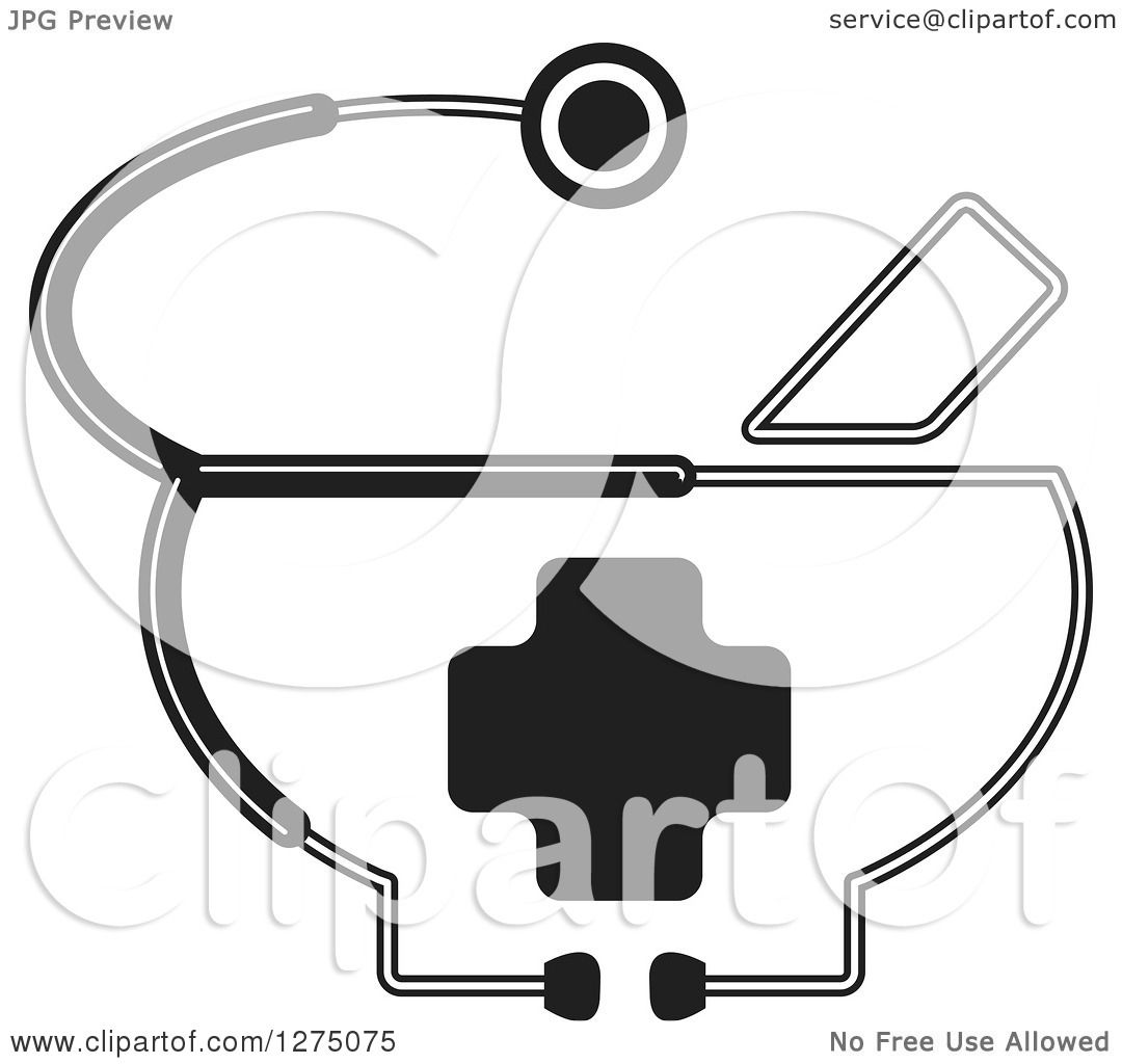 Clipart Of A Black And White Medical Stethoscope Around A
